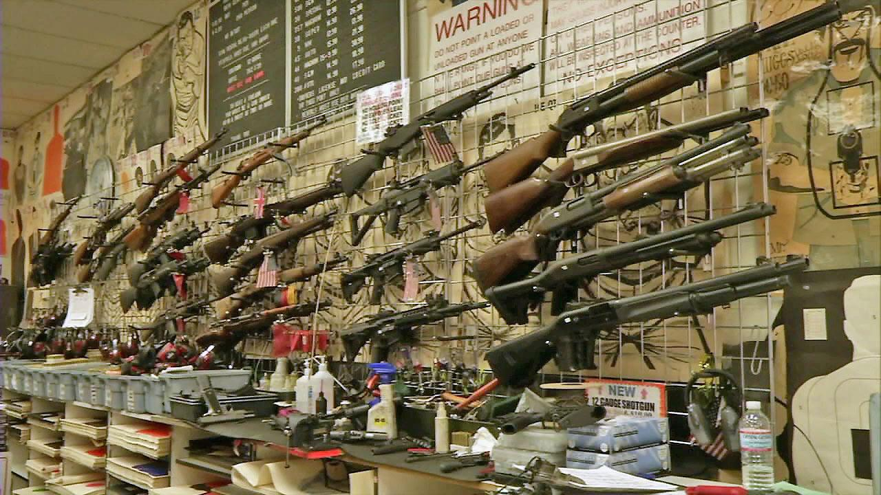 Guns are seen on display in a local gun store in this undated file photo.