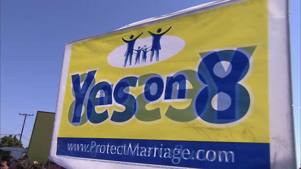A Yes on 8 sign is seen in this undated file photo.