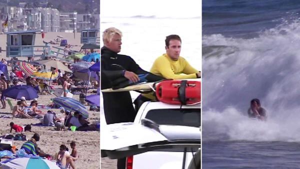 High surf, strong currents keep beachgoers dry