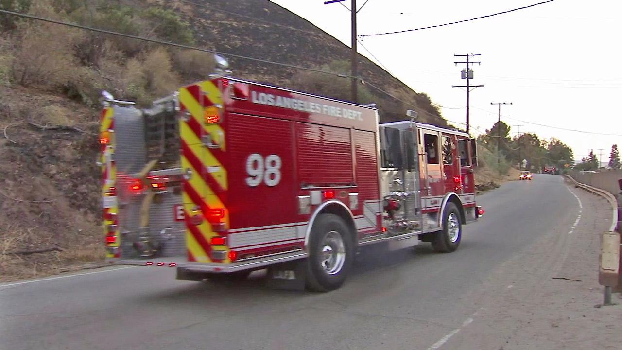 A Los Angeles Fire Department truck is seen in this undated file photo.