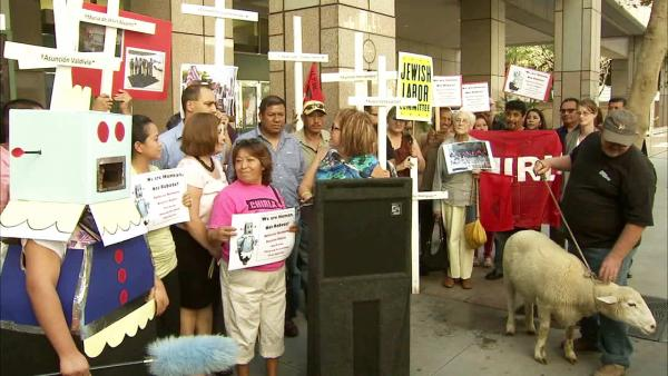 Protesters demonstrate against Trust Act veto