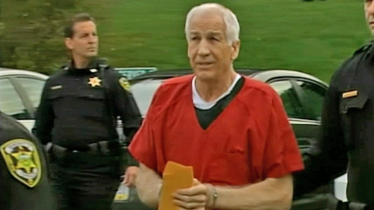 Jerry Sandusky is seen arriving at a courthouse for sentencing on Tuesday, Oct. 4, 2012.