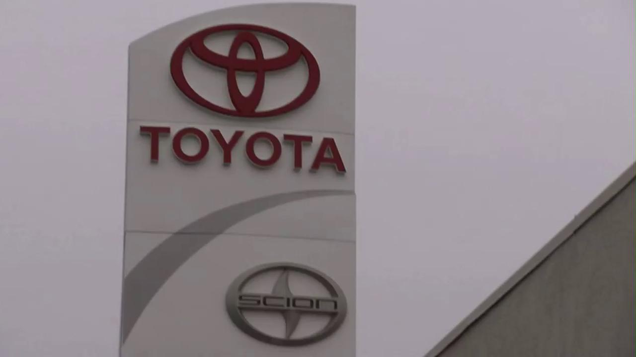 A Toyota sign is seen in this undated file photo.