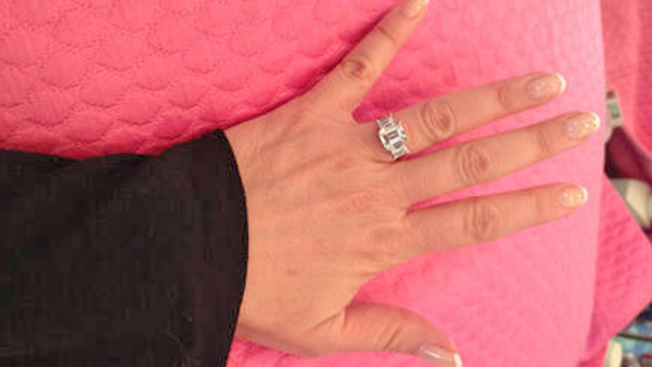 The hand of Jeanie Buss, girlfriend of former Lakers coach Phil Jackson and daughter of Lakers owner Jerry Buss, is seen sporting a ring in this TwitPic from Jeanie Buss Twitter account on Thursday, Jan. 3, 2013.