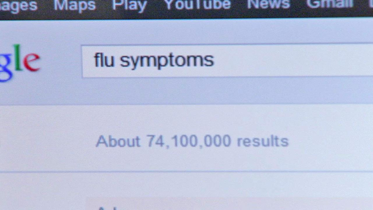 This undated file image shows a Google search yielding about 74 million results for flu symptoms. Doctors say trying to diagnose an illness with information you find on the Internet can backfire.