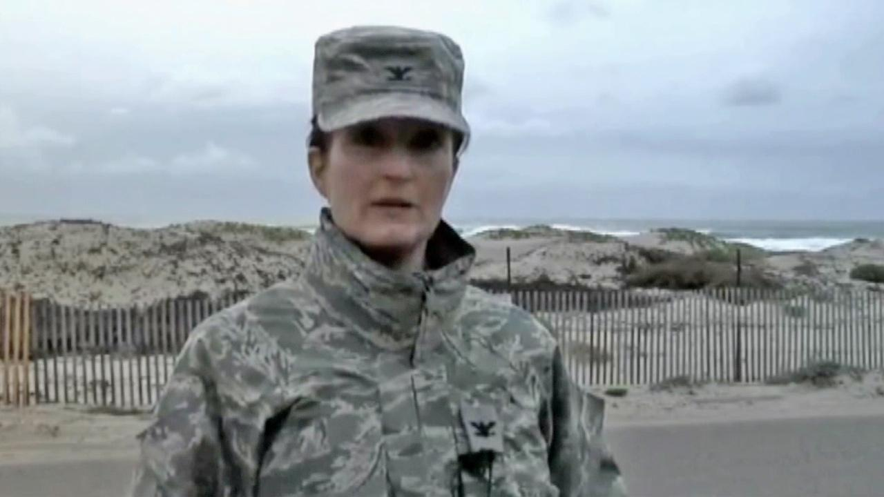 Col. Nina Armagno is seen addressing the media after $1 million worth of marijuana turned up at the beach of Vandenberg Air Force Base on Thursday, March 7, 2013.