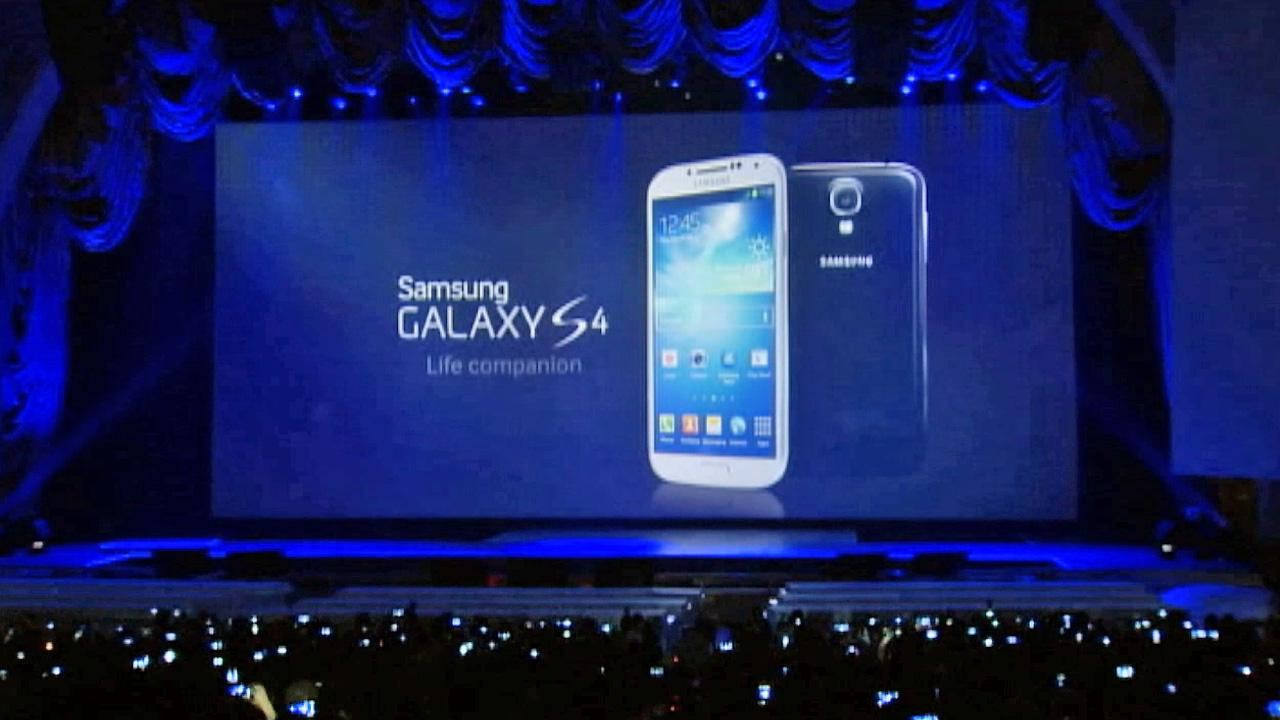 The Samsung Galaxy S 4 is seen at its unveiling in New York on Friday, March 15, 2013.