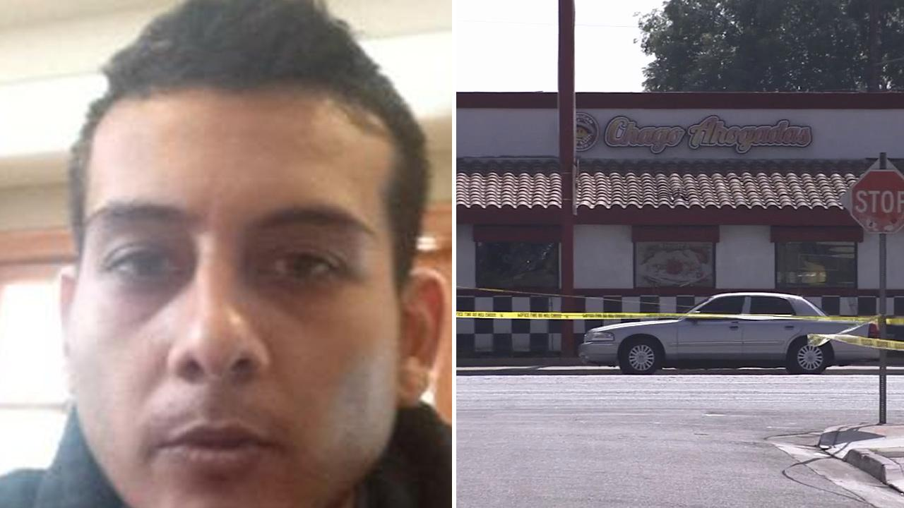 This split image shows 29-year-old Arthur Andrade (left), suspected of shooting and killing his estranged wife, and a restaurant in Montebello (right), where the shooting occurred Saturday, March 16, 2013.
