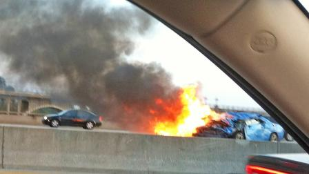 An ABC7 viewer sent in this shot of a car on fire. The car was involved in a four-car crash on the eastbound 134 Freeway in Pasadena on Sunday, March 17, 2013.