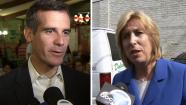 Los Angeles mayoral candidates Eric Garcetti, right, and Wendy Greuel, right, are seen at events in Los Angeles Saturday, May 18, 2013.