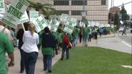 Hospital workers are seen picketing outside the Ronald Reagan UCLA Medical Center on Tuesday, May 21, 2013.