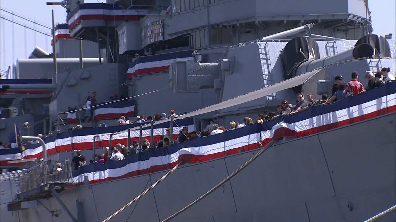 Hundreds of people boarded the USS Iowa battleship in San Pedro to honor veterans and their families on Memorial Day on Monday, May 27, 2013.
