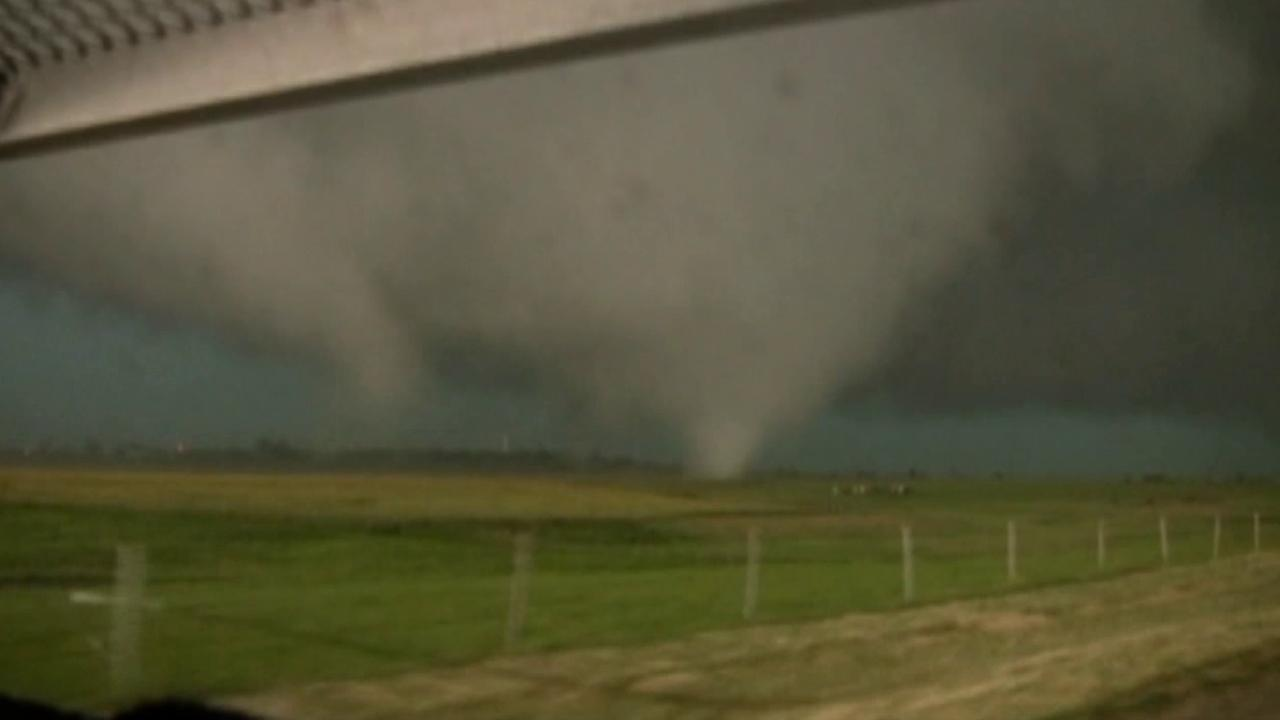 Twin tornadoes rip through Oklahoma on Friday, May 31, 2013.
