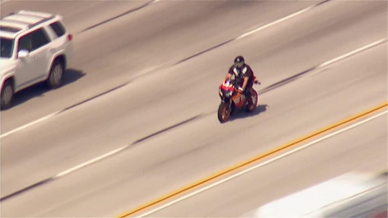 A high-speed chase of a motorcyclist ended when the suspect crashed in a freeway construction zone in Sun Valley Wednesday, June 5, 2013.