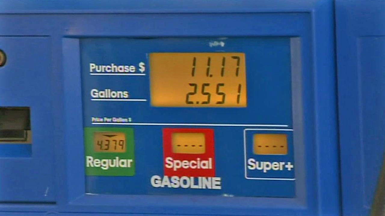 The price of gas in Los Angeles is seen Monday, July 1, 2013, the day a 3.5-cent gas tax hike went in effect.