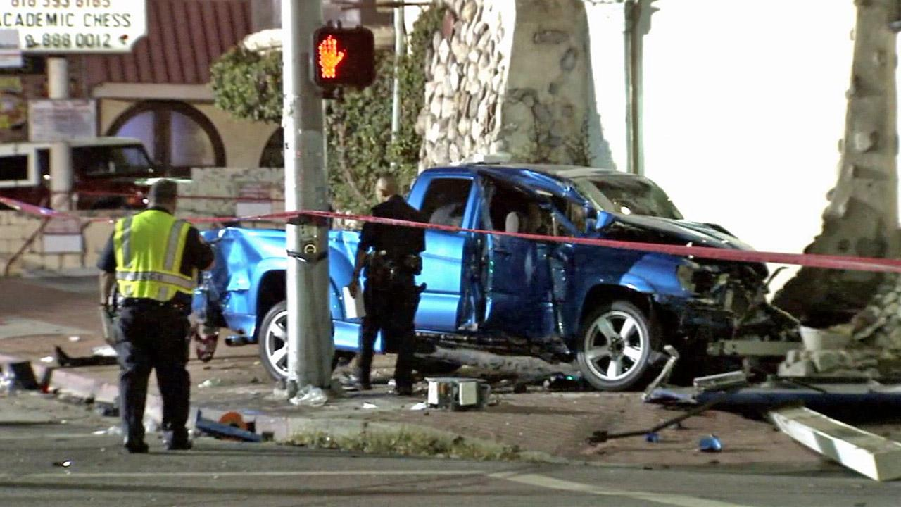 A three-vehicle accident injured six people, including three pedestrians, in Northridge on Wednesday, July 3, 2013.
