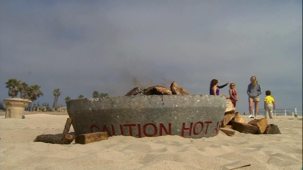 A fire pit is seen at a beach in an undated file photo.