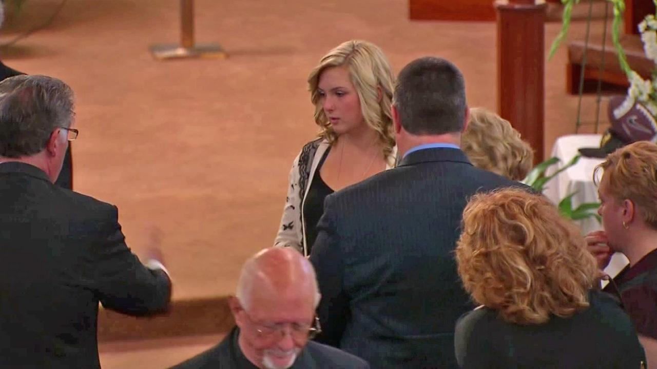 Hannah Anderson is seen at a public service held for her mother and brother on Saturday, Aug. 24, 2013.