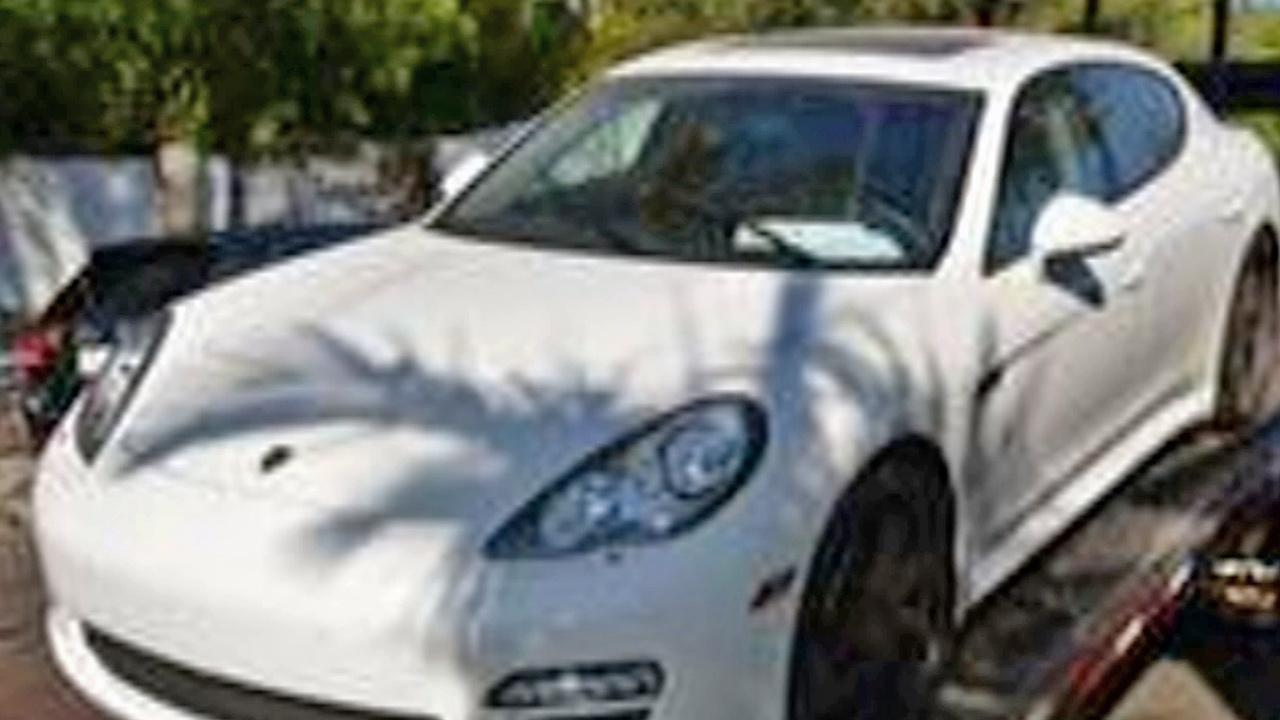 A Porsche Panamera stolen in December 2011 is seen. It was found in Studio City in September 2013.