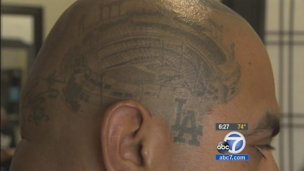 Fan has Dodger Stadium tattooed on head