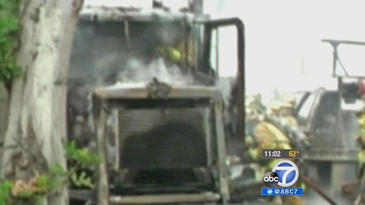 A tanker truck is seen after a fiery crash on the 710 Freeway in Commerce on Sunday, Oct. 27, 2013.