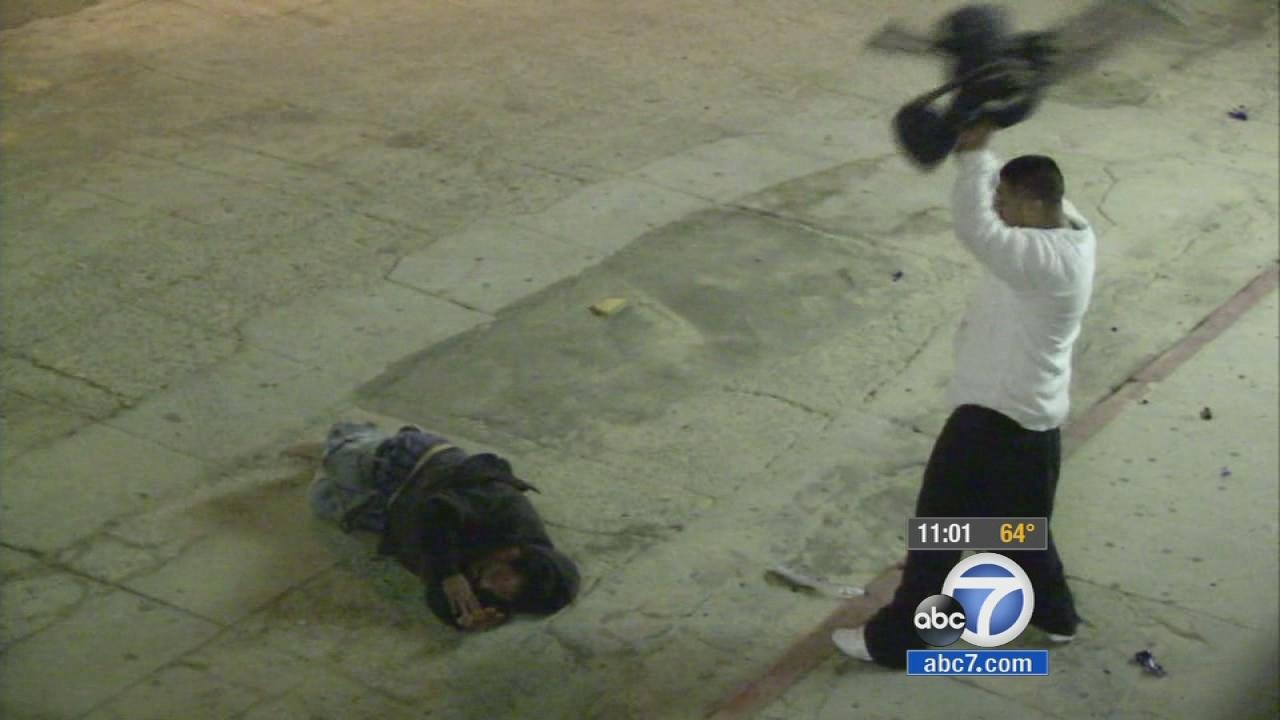 A man was repeatedly beaten near the Sidewalk Cafe on the 1300 block of Ocean Front Walk in Venice Tuesday, Dec. 13, 2013.