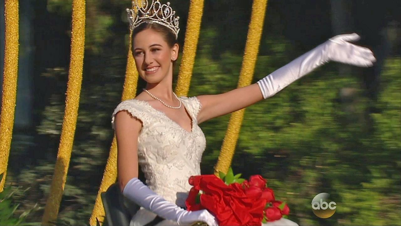 Ana Marie Acosta, the 2014 Rose Queen, waves to the crowd in Pasadena on Wednesday, Jan. 1, 2014.