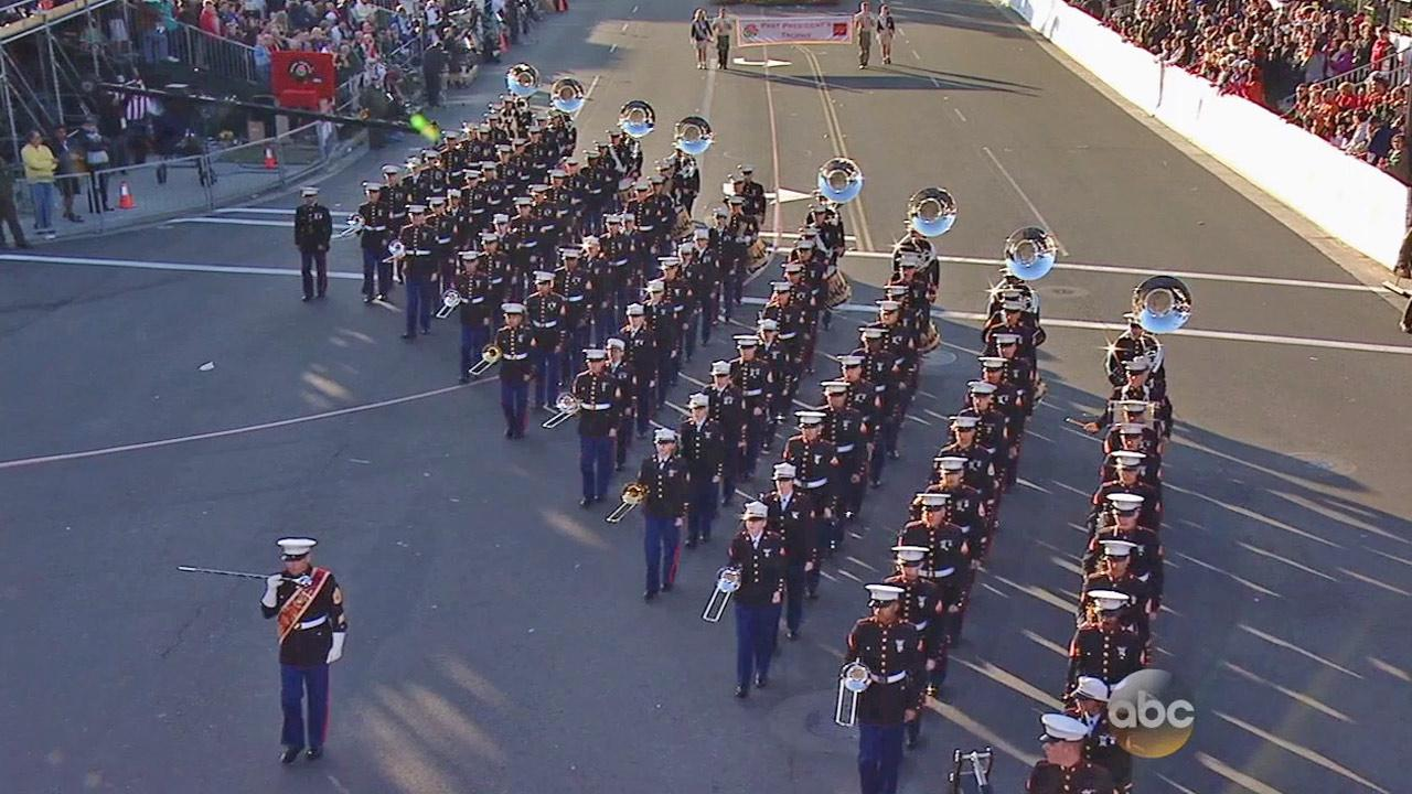 The United States Marine Corps West Coast Composite Band performs in the 2014 Rose Parade in Pasadena on Wednesday, Jan. 1, 2014.