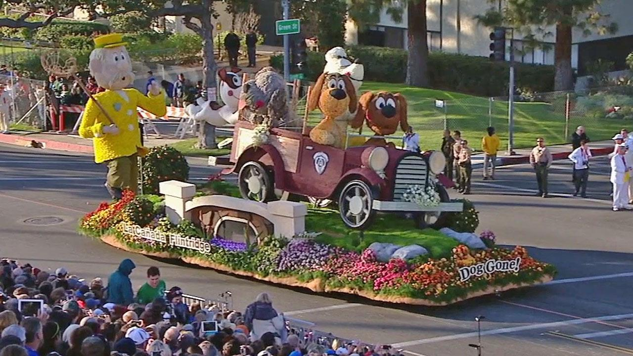 The float representing the city of La Canada Flintridge is seen in the 2014 Rose Parade in Pasadena on Wednesday, Jan. 1, 2014.