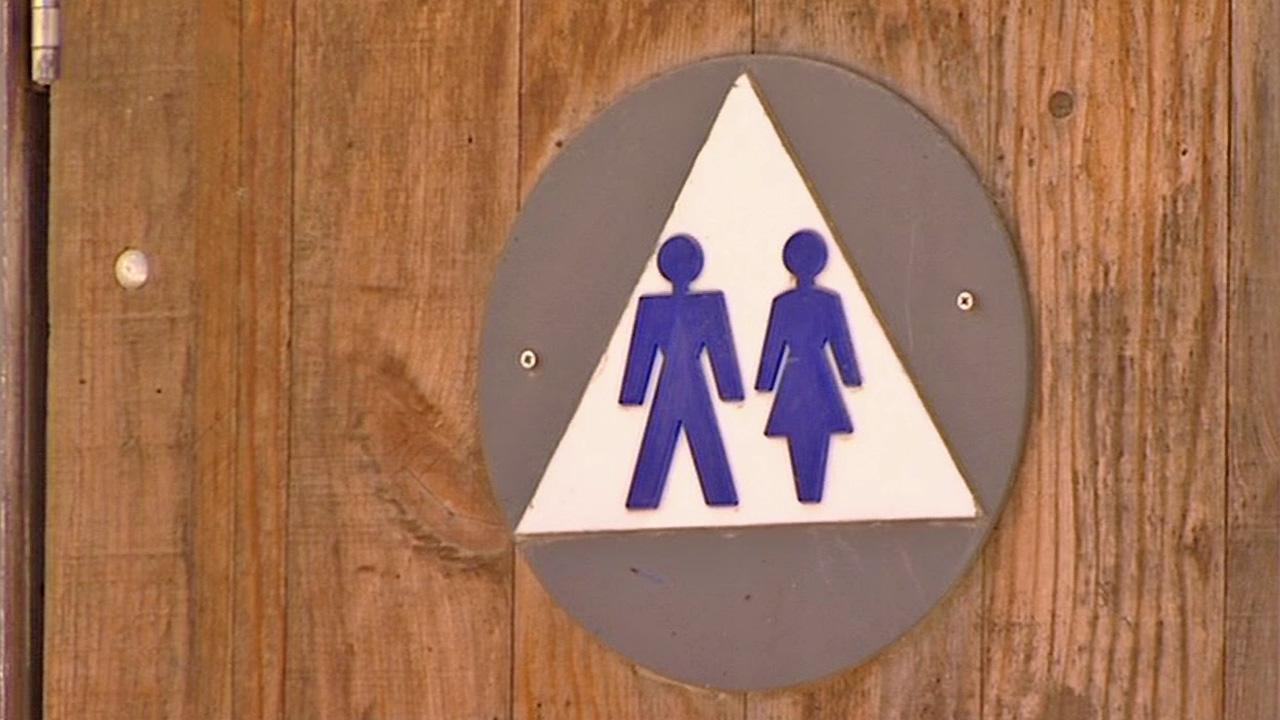A bathroom door is seen in this file photo.