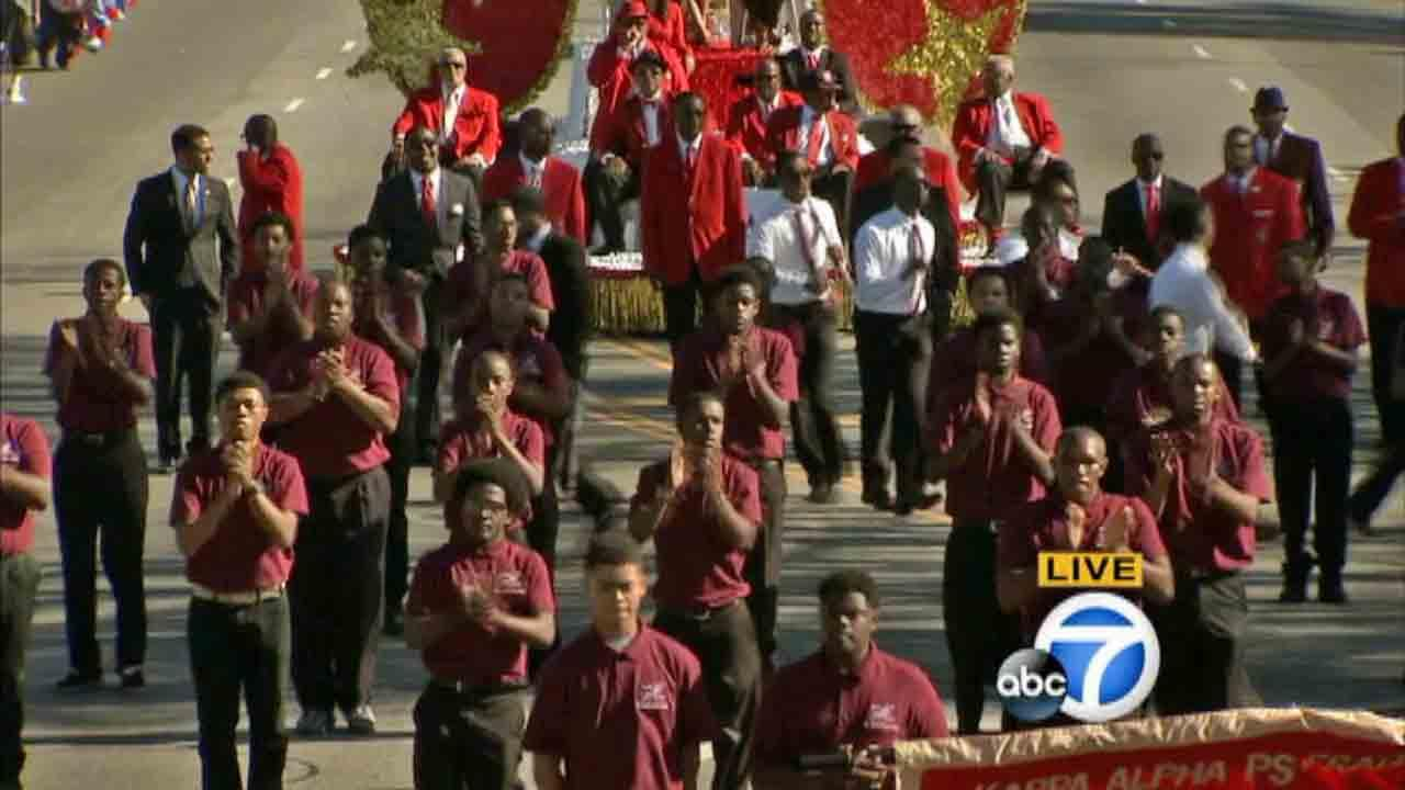 Kappa Alpha Psi performs in the Kingdom Day Parade in South Los Angeles on Monday, Jan. 20, 2014.