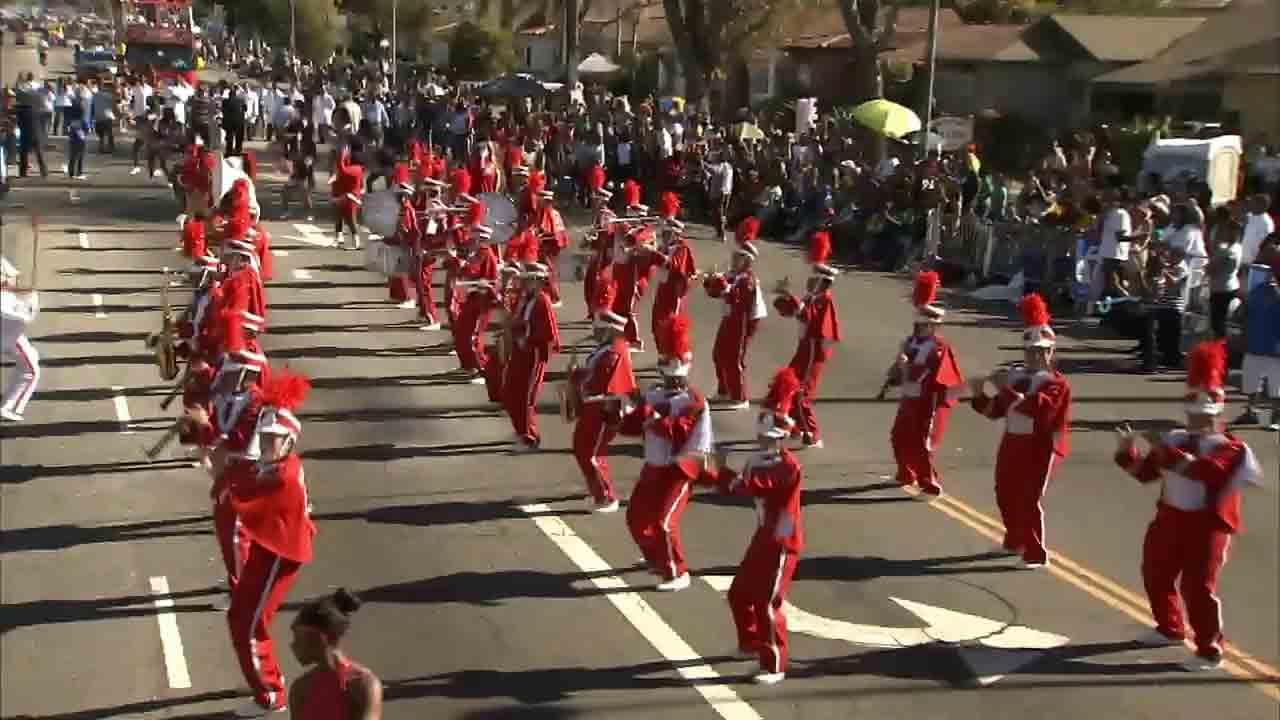 Centennial High School from Compton marches in the Kingdom Day Parade in South Los Angeles on Monday, Jan. 20, 2014.