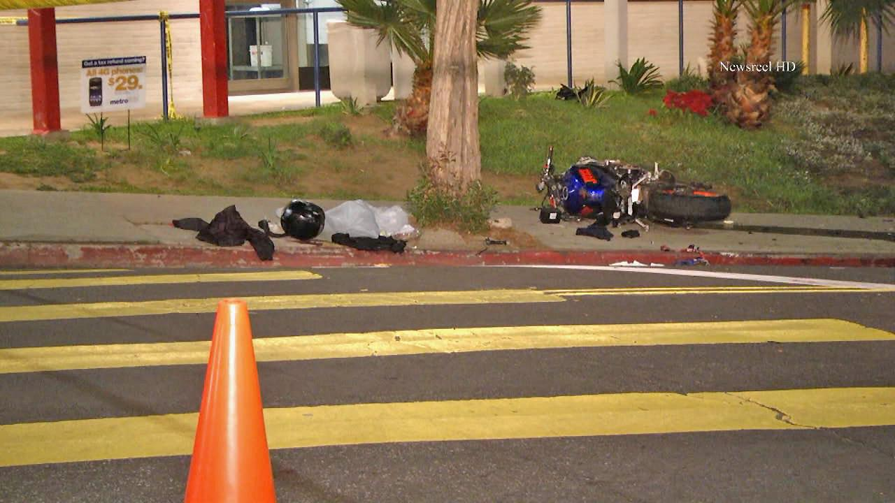 A motorcycle is seen after a crash in the Rampart area on Thursday, Feb. 13, 2014.