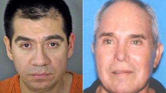 Gabriel Campos Martinez, 38, is seen in this booking photo (left). He was arrested Sunday, March 9, 2014, in San Antonio, Texas, in the murder of Hervey Medellin (right), whose severed head was found in the Hollywood Hills in 2012.
