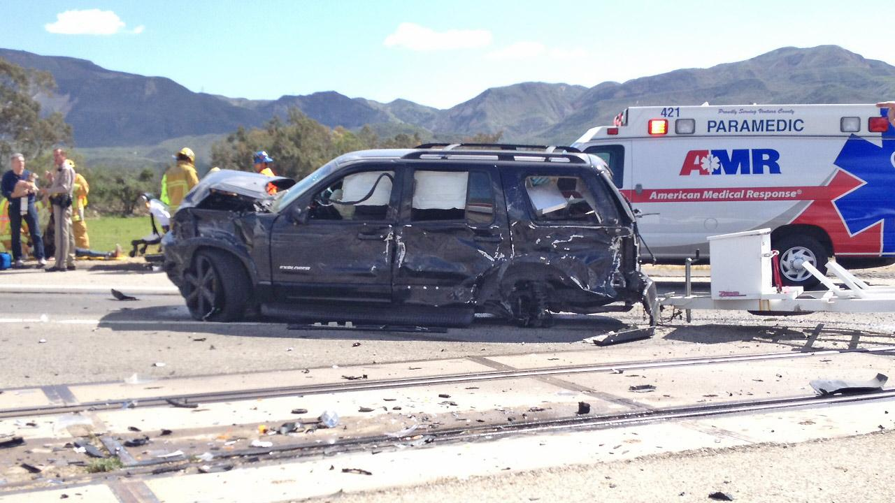 The scene of a car crash near Fillmore on Sunday, March 30, 2014.