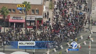 Thousands rally on the streets of Little Armenia in Hollywood to commemorate the Armenian Genocide on Thursday, April 24, 2014.