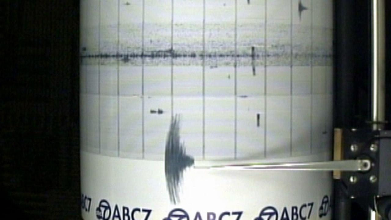 The ABC7 Quake Cam shows a 3.3-magnitude earthquake that struck Cudahy, Calif, on Wednesday, May 7, 2014.