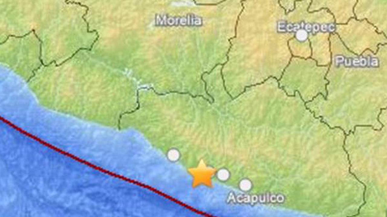 A map shows the location of a 6.4-magnitude quake in Mexico on Thursday, May 8, 2014.