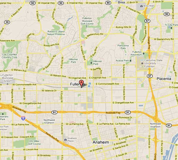 Fullerton, Calif. ranked  No. 14 on Foursquare&#39;s list of the rudest cities in the world. <span class=meta>(KABC&#47;Google Maps)</span>