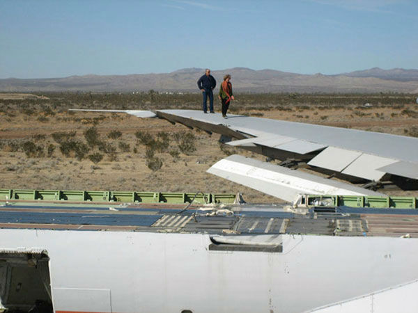 The wings of a deconstructed Boeing 747 airplane...
