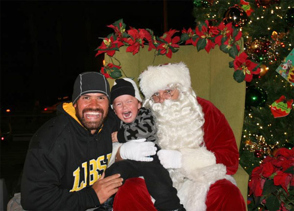 "<div class=""meta ""><span class=""caption-text "">ABC7 viewer Melissa Borde-Loebl posted this photo to the ABC7 Facebook wall of her husband Cory and their son Kai with Santa Claus.  Post your own photo, and don't forget to tag yourself. Your photo may be used on Eyewitness News! (KABC Photo/ ABC7 viewer Melissa Borde-Loebl)</span></div>"