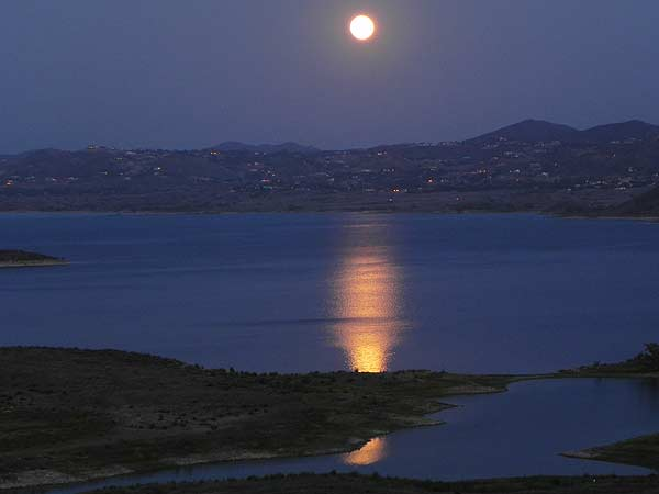 ABC7 viewer John Souder sent in this photo of the full moon from his vantage point at Lake Mathews, just east of Corona, on Saturday, May 5, 2012. When You Witness breaking news, or even something extraordinary, send pictures and video to video@abc7.com, or post them to the ABC7 Facebook page or to @abc7 on Twitter  <span class=meta>(ABC7 viewer John Souder)</span>