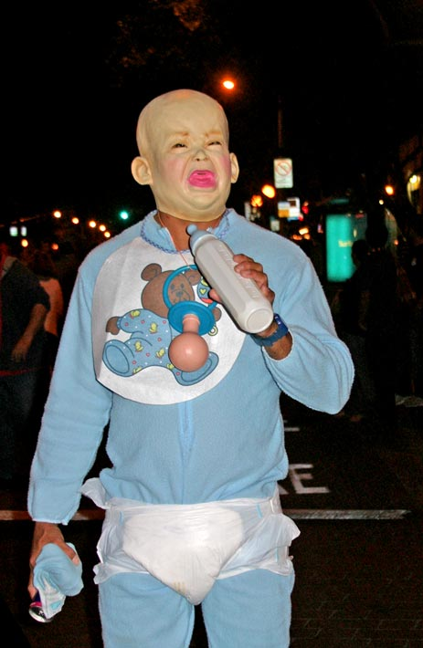 A man dressed as an infant at the West Hollywood Halloween Costume Carnaval in West Hollywood on Wednesday, Oct. 31, 2012.