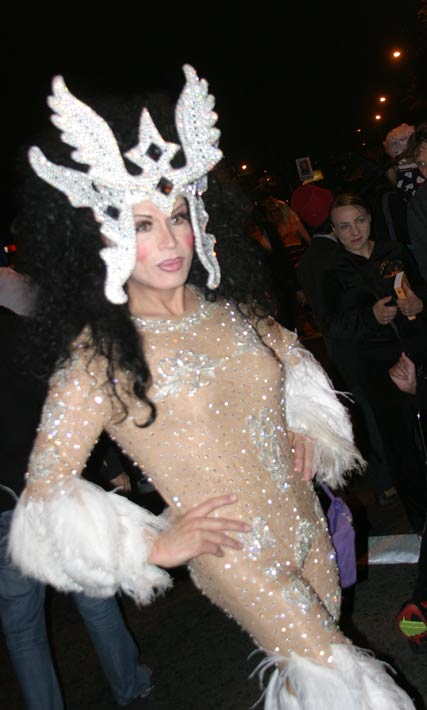 A reveler dressed as singer Cher at the West Hollywood Halloween Costume Carnaval in West Hollywood on Wednesday, Oct. 31, 2012. <span class=meta>(ABC7)</span>