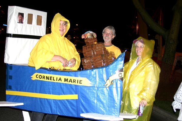 Revelers dressed in the theme of the fishing vessel Cornelia Marie at the West Hollywood Halloween Costume Carnaval in West Hollywood on Wednesday, Oct. 31, 2012.