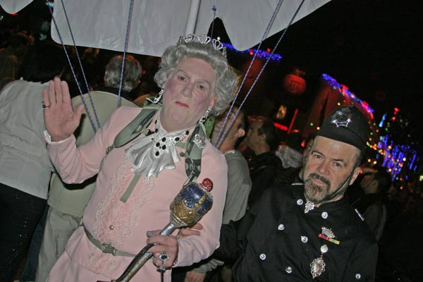 A reveler dressed as Queen Elizabeth at the West Hollywood Halloween Costume Carnaval in West Hollywood on Wednesday, Oct. 31, 2012. <span class=meta>(ABC7)</span>