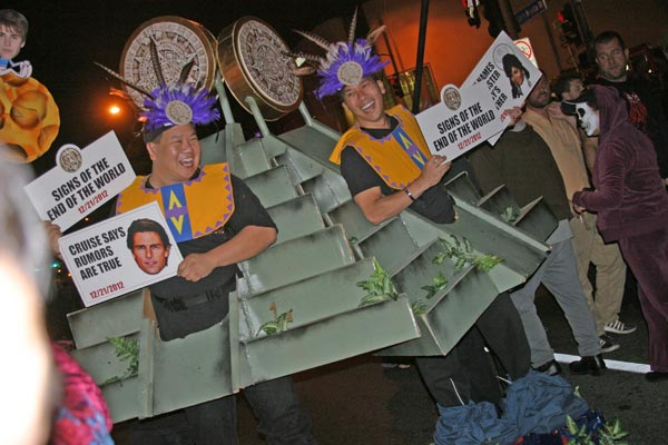 "<div class=""meta ""><span class=""caption-text "">Revelers dressed as Mayans predicting the end of the world at the West Hollywood Halloween Costume Carnaval in West Hollywood on Wednesday, Oct. 31, 2012. (ABC7)</span></div>"