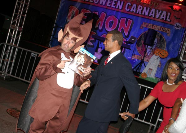 From left, revelers dressed as Count Chocula, President Barack Obama and first lady Michelle Obama at the West Hollywood Halloween Costume Carnaval in West Hollywood on Wednesday, Oct. 31, 2012. <span class=meta>(ABC7)</span>
