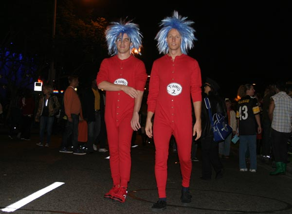 Revelers as Thing 1 and Thing 2 at the West Hollywood Halloween Costume Carnaval in West Hollywood on Wednesday, Oct. 31, 2012. <span class=meta>(ABC7)</span>