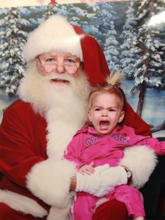 Baby crying on Santa&#39;s lap. &#160;Post your holiday pictures on our ABC7 Facebook page <span class=meta>(ABC7 viewer Deborah Clifton)</span>